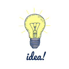 Hand drawn light bulb with inscription idea. Sketch with simple lamp and lettering. Creative business icon