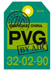 Shanghai airport luggage tag. Realistic looking tag with stamp and information written by hand. Design element for creative professionals.
