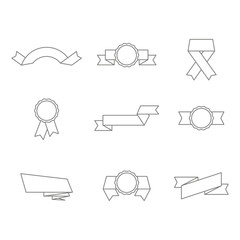 monochrome set with vector banners ribbons for your design