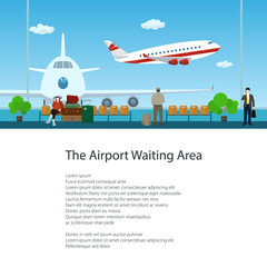 Flyer of Waiting Room at the Airport with Passengers, View on Airplanes through the Window, Travel and Tourism Concept, Poster Brochure Design, Vector Illustration