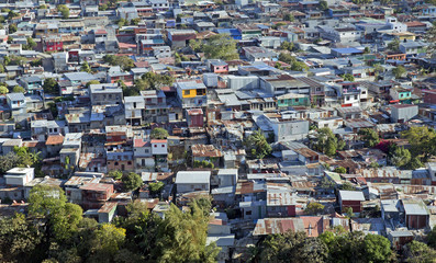 Aerial view of a poor neighbourhood of San Jose Costa Rica