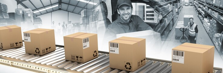 Composite image of cardboard boxes on production line Wall mural