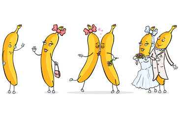 Vector Set of Male and Female Banana Characters - Banana Love Story