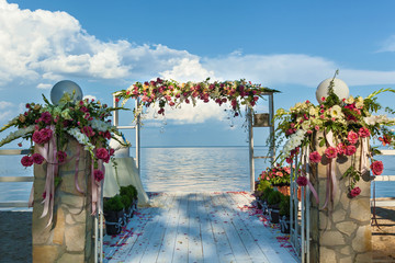 Wedding arch and set up on the beach