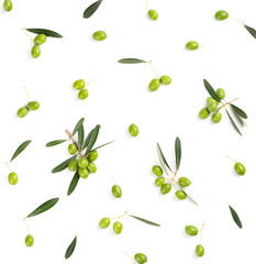 White background with green olives, top view.