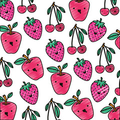fresh fruits with leafs pattern vector illustration design