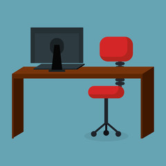 business office workplace with computer vector illustration design