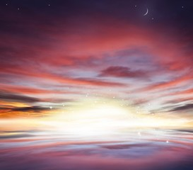 Beautiful heavenly landscape with the sun in the clouds .  moon and stars . Half moon .   Sunset and sunrise in the sky   .  Light from sky . Religion background .  Ramadan background