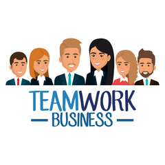 group of businespeople teamwork vector illustration design