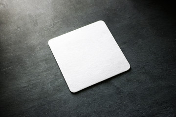 Blank white beer coasters mockup, clipping path