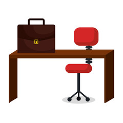 business office workplace with portfolio vector illustration design