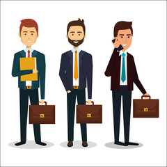 group of businessman teamwork with portfolio vector illustration design