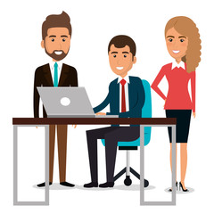 group of businespeople in the work place teamwork vector illustration design