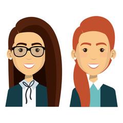 group of businesswoman teamwork vector illustration design