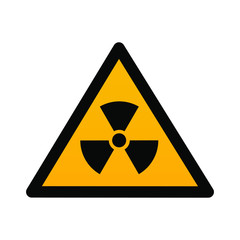 Radioactive contamination in the triangle sign flat design vector illustration. Bllack triangle and sign, yellow background. Toxic sign, warning of radioactive zone isolated on white background