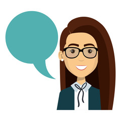 businesswoman with speech bubble vector illustration design