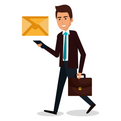 businessman walking with portfolio and envelope vector illustration design