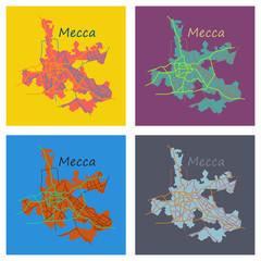 Set of Mecca map Saudi Arabia, Flat illustration.