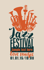 Vector poster for a jazz festival live music with silhouettes of saxophone, wind instruments and a microphone in retro style