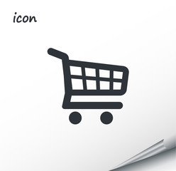 vector icon shopping cart on a wrapped silver sheet