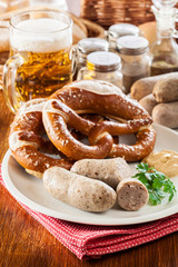 Bavarian breakfast with white sausage