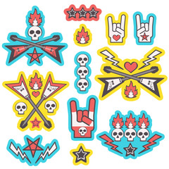 Cool set of heavy metal music style stickers, isolated vector designs on white background
