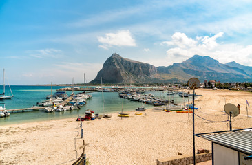 Fisher boats and yachts in the harbor of San Vito Lo Capo, Sicily
