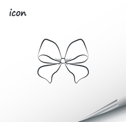 Vector icon bow on a wrapped silver sheet