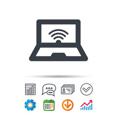 Computer with wifi icon. Notebook or laptop pc.