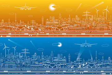Airport panorama set. Passengers go to the airplane. Aviation travel transportation infrastructure. The plane is on the runway. Night city on background, vector design art