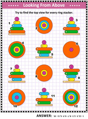 Math visual puzzle or picture riddle with colorful ring stacking toys: Find the top view for every toy tower of wooden rings. Answer included.