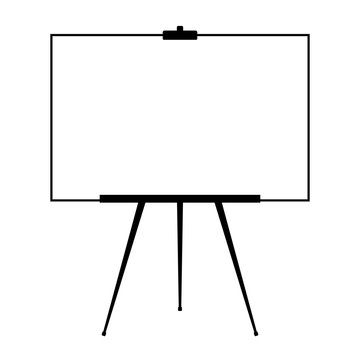 Advertising stand or flip chart or blank artist easel isolated on white background. Presentation blank white board for conference. Vector illustration.