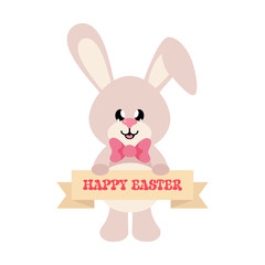 cartoon easter bunny with sign
