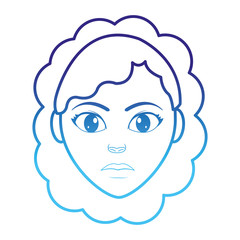 degraded line woman head profile with hairstyle design