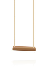 Swing. Simple wooden playground toy, a wooden plank and two ropes - isolated vector illustration on white background.