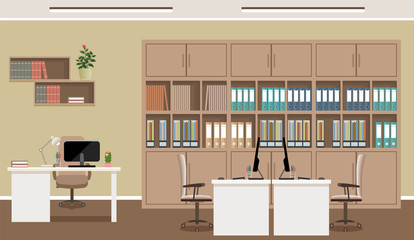 Office interior concept. Workplace design with three workplaces and office furniture like tables, laptops, armchairs.