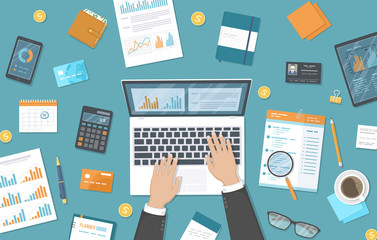 Man working on a laptop on the desktop. Documents, graphics, charts, calendar, calculator, notepad, pen, wallet. Organization, planning, analysis, management. Top view office work table. Vector