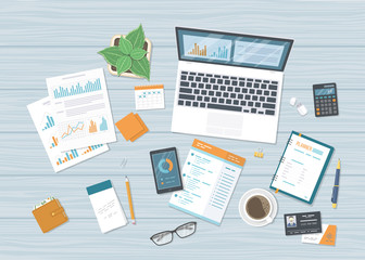 Business workplace with forms charts, graphs, laptop with information on the screen, notebook, phone, planner, desk. Accounting, analysis, research, planning, audit, report, management. Vector