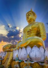 (Tiger Cave) Wat Tham Seua , Krabi, Thailand,Statue of buddha in sky background.