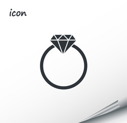 Vector icon diamond on a wrapped silver sheet