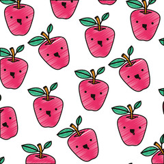 apple comic characters pattern background vector illustration design