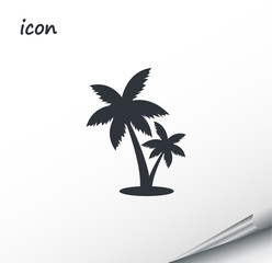 Vector icon palm tree on a wrapped silver sheet