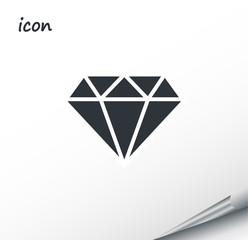 Vector icon diamond on a wrapped silver sheet