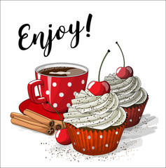 Red cup of coffe with two cupcakes and four cinnamon sticks, illustration