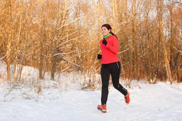 Image of sportswoman on run in winter
