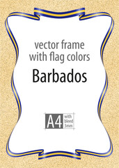 Frame and border of ribbon with the colors of the Barbados flag, template elements for your certificate and diploma. Vector, with bleed three mm.