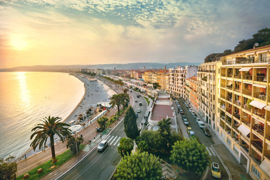 Cityscape of Promenade des Anglais in Nice in evening at sunset. France