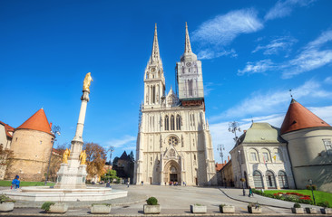 Cathedral and Blessed Virgin Mary monument in Zagreb. Croatia