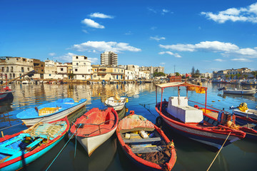 Fishing boats at old port in Bizerte. Tunisia, North Africa