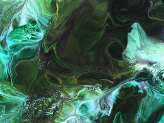 Green abstract hand painted background